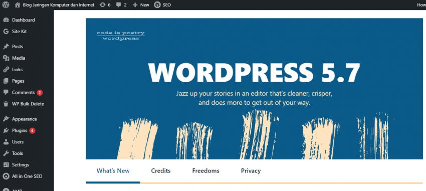 Tampilan dalam wordpress 5.7 Code Poetry